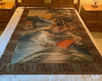 "$2,400.00..............Incredible Antique Hand Embroidered Tapestry, Oriental Village Scene, please view following pictures for close up work , believed to be used in old time photography studio as back drop.  Includes Norwegian Hand Wrought Iron Hangers, very heavy.  4' 4"" x 5' 9"" (P458)"