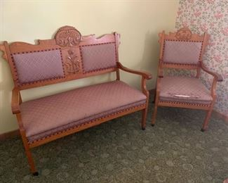 CLEARANCE  !  $50.00 NOW, WAS $125.00...............Antique Parlor Settee and Chair Set, Chair has rip in fabric beautifully ornate wood (P572)