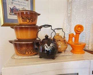Vintage Pyrex and Teapots