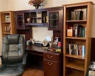 Pretty desk and a set of bookcases.