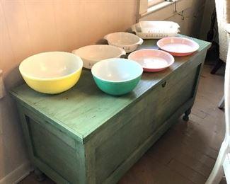 Vintage Pyrex bowls, pie plates , casserole dishes