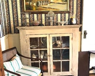 neo classic side chair, primitive cabinet, oil painting