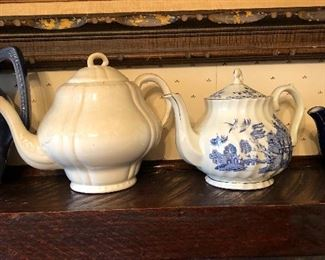 ironstone teapot, blue and white teapot