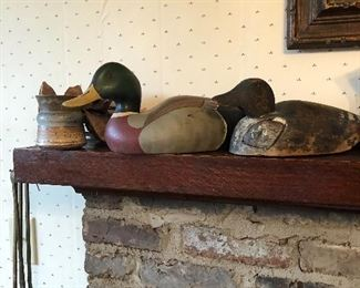 hand carved duck decoys, Pigeon Forge pottery (owl)