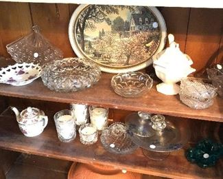 candles , ironstone glassware, metal tray