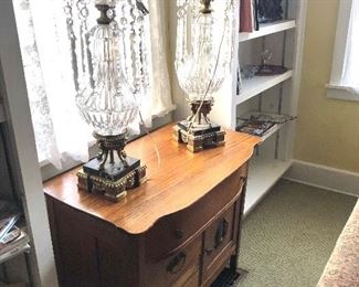 antique wash stand, pair of crystal and marble lamps