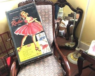 Revlon doll, antique rocker