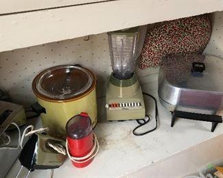 crockpot, Blender, electric skillet, coffee grinder, mixer