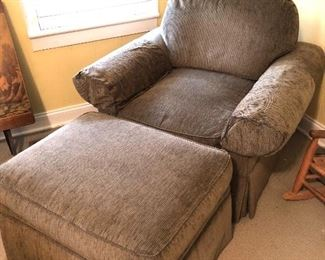 Chenille chair and ottoman