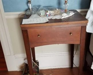 Sewing Machine and table,  Lamps (sold separately)