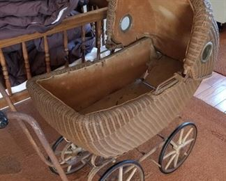 Wicker Baby Carriage