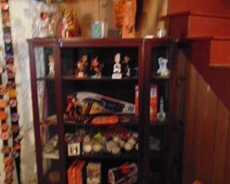 Bow Front Curio Cabinet, Orioles Memorabilia (items sold separately)