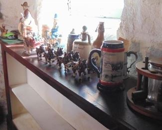Figural Decanters, metal Budweiser Beer Wagons and others (sold separatley)