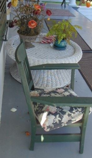Painted Arm Chair, Wicker Table (sold Separatley)