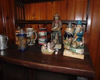 Figural decanters and steins