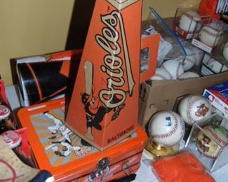 O's cardboard mega phone, baseballs and more