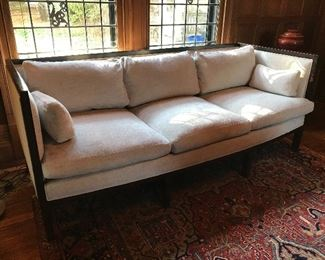 "Cisco Brothers Clermont Sofa - 84"" W x 33"" H x 34"" D - Feather & down cushions, wood frame with some blemishes. 