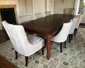 "Henredon Parquetry Dining Table - 84"" x 48"" - with two 22"" leaves. Hunt Chairs by Hickory Chair for Henredon - Dark walnut finish, nickel nailhead trim on 6 side chairs. 2 Dakota head chairs. 