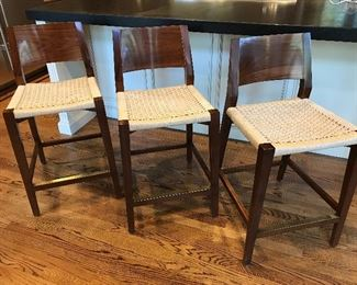 "3 McGuire San Francisco Seido Counter Stools with Woven Seats - 18"" W x 18"" D x 36""H, 25"" seat height. Brass foot rails, some blemishes to frames 