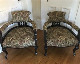 "Pair of Wood Framed Upholstered Chairs - 25"" W x 29"" H x 24"" D x 16"" seat height 