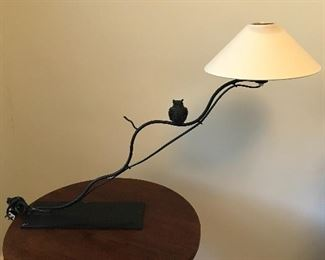 "Signed Lieux Owl Motif Iron Lamp - 28"" W x 20"" H x 10"" D (approx) 