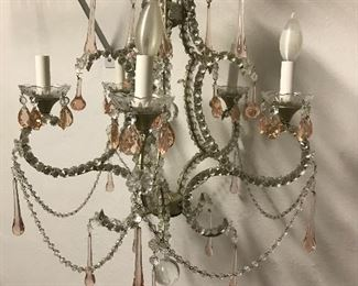 "Antique Crystal Chandelier with Pink Lusters - 24""H x 21""W 