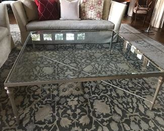 "Metal & Glass Coffee Table - 52"" square, 18"" H - some abrasions to glass. 