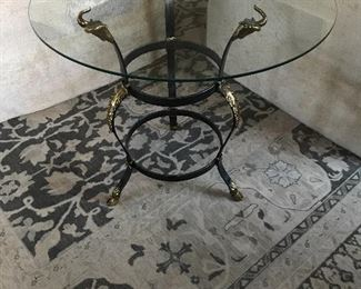 "Iron & Brass Side Table with Ram Head Detail - 26.5"" round, 24""H 