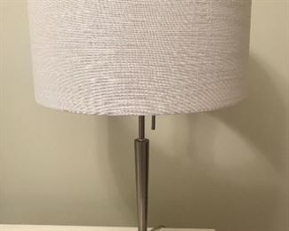 "Arcadia Brushed Nickel Lamp with fabric shade - 22.5"" tall 