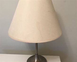 "Brushed nickel lamp - shade has stains - 21"" high 