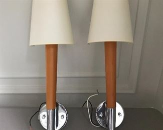 "Handsome pair Global Light wood and chrome sconces with fabric shades. 22"" H x 6.5"" W x 4"" D 