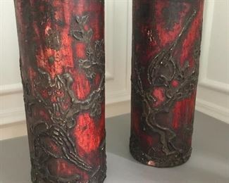 "Carved red decorated cylinders - pair. 13"" H X 5"" dia. Some condition issues as shown 