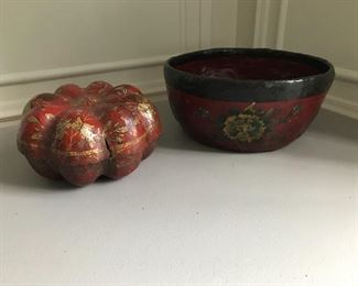 "Pumpkin form box (9"" W x 5"" H) and papier mache bowl (13"" dia x 6"" H) with gold decorations. Box very as is. 