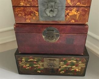 "Group of 3 Asian boxes. 11"" W x 5.5"" H x 6.5"" deep, 10.5"" W x 4"" H x 6"" D, 13"" W x 7"" H x 5"" D. Condition as shown 
