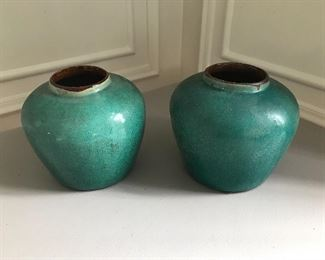 "Turquoise glazed vessels with brown interiors, 1 gloss, 1 matte. 7.5"" high X 8.5 wide 