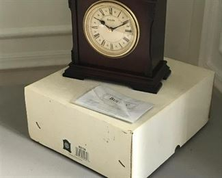 "Bulova carriage clock, with box. 7.5"" W x 8.75"" H x 3.75"" D 