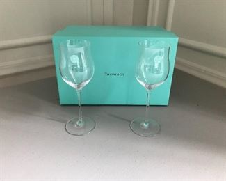 "Pair of Tiffany Swing wine glasses, 7"" tall, unused in original box 