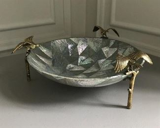 "Abalone bowl with brass bird accents - 13"" W x 5"" H 