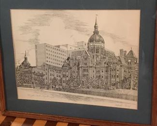 "Lithograph of The Johns Hopkins Hospital by Martin Barry, limited edition 628/750. 21"" W x 17"" H 