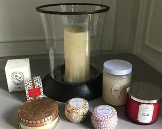 Pottery Barn pillar candle hurricane and lot of fabulous scented candles (all unused except pillar candle) | $125 / lot