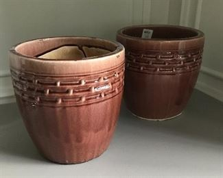 "Glazed pots by Lotus International, pair, 11"" high X 11"" wide 