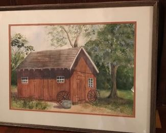 "Watercolor of ""Old John Finley Blacksmith Shop, NJ""       24.5"" W x 19"" H 