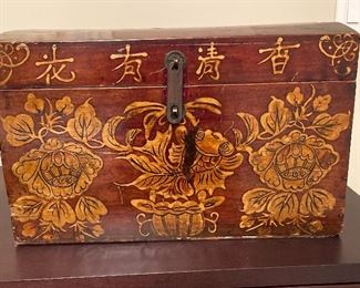 "Wood box with gold decoration 17.25"" W x 10.25"" H x 10.75"" D 