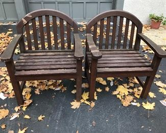 "Pair of Smith and Hawken teak chairs. Need a power wash. 36"" high X 28"" wide X 23"" deep. $150 pair."