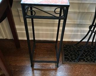 "Tile top plant stand. 29"" high. $15"