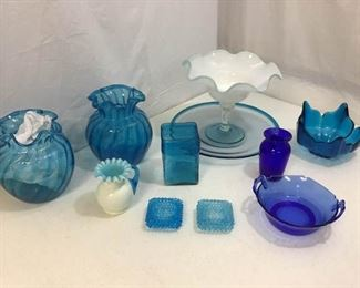 131Vtg Blue Glass Assortment