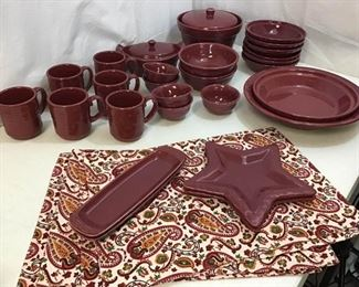 141Longaberger Maroon Dishes