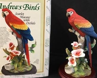 166Andrea by Sadek Bisque Porcelain Macaw
