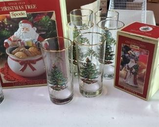 228Spode Christmas Glasses, Bell  Santa Bowl