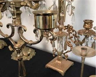 Brass Candlesticks and Painted Candelabra